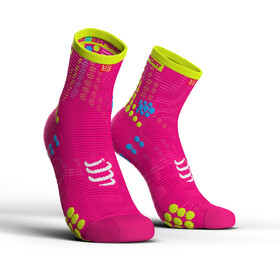 Compressport Pro Racing V3.0 Run High Chaussettes, fluo pink